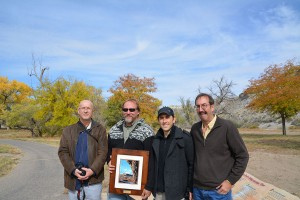 [Photo: Irek Walaszczyk (Warsaw University, Poland), Brad Sageman (Northwestern University), Steve Meyers (UW-Madison), and Brad SInger at the dedication of the Cenomanian-Turonian GSSP signs in Pueblo State Park Colorado. October, 2013.]